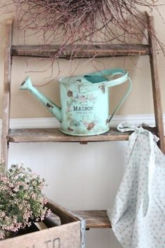 Ladder and watering can.