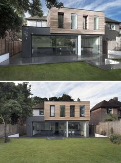 Large windows, light wood paneling on the top box, and dark exterior walls on the bottom box gave this British home a sleek modern update.