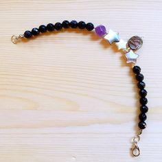 "That Stone Store_Handmade Gemstone Jewelry - ""Night wish"" Amethyst Blue-Sandstone Abalone MOP & Silver Beads Bracelet"