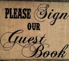 Burlap Guestbook wedding sign. Wedding sign to place next to guestbook. What a…