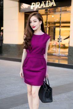 Đầm công sở sát nách màu tím quyến rũ - đầm công sở vải thun