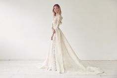 long sleeve lace wedding dress by Suzanne Harward