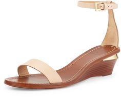 These are perfect for dressing up or down!  Even better that they are on sale!! -Tory Burch Maya Leather Wedge Sandal, Camelia Pink