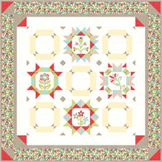 Free Block of the Month, called Maggie's First Dance. Flower blocks that you can applique or embroider!