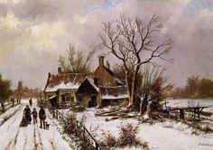Winters landschap met boerderij, Willem Koekoek