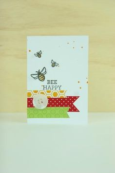 Getting a friend buzzing about soon to be spring with this cute handmade card idea. All stamps, dies, and card stock by A Muse Studio. Bee Happy stamp set. #cas #diy #stamping #handstamped #papercrafts #cardideas #amusestudio