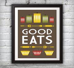 Jars Print, Bowl Print, Kitchen Art, Kitchen Print, Mid Century Print, Mid Century Art, Mid Century Poster, Dark Good Eats Print - 11x14