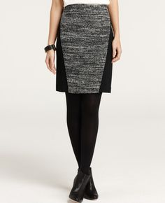 Linear Knit Tweed pencil skirt (the fun bangle bracelet and ankle boots don't hurt either)