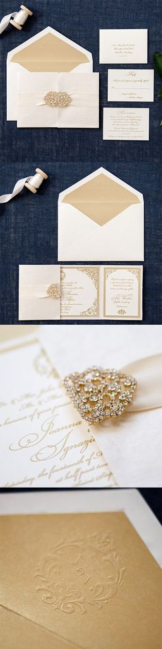 """Crystal and Ribbon by @engagingpapers. The Lauren Collection is 6"""" x 9"""" center gatefold featuring a 2″ #satin ribbon and double crystal clasp. The cover of the jacket is ivory handmade shimmer cardstock. The inside of the jacket holds two side pockets and a center panel of which the 5 X 8.25″ invitation that is double mounted."""
