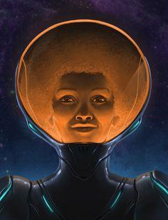 "nubiamancy: """"Space Afro"", illustrated by Roy Steuer. Les Reptiles, Black Artwork, Afro Art, Arte Popular, Retro Futurism, Sci Fi Art, Art Portfolio, Les Oeuvres, Art Inspo"