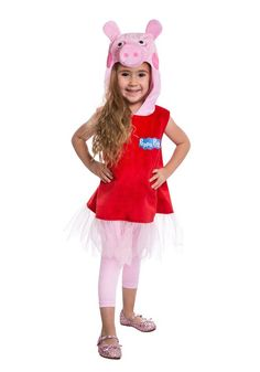 Dress your little one up in this adorable Peppa Pig hooded dress! Hooded dress with pink tulle detailing. If your little one loves this character, then the Peppa Pig costume is ideal for their next Halloween party or for dress-up time at home! #yyc #Calgary #costume #peppainyoursteppa #toddler #childrensshow