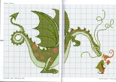 Cross-stitch Fairy Tale Dragon  ... no color chart available, just use the pattern chart as your color guide.. or choose your own colors...    Gallery.ru / Фото #2 - Fairy tales - Mongia
