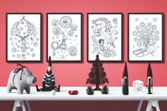 Charming Christmas collection - 4 coloring posters / black and white illustrations Neutral Color Scheme, Color Schemes, All Poster, Posters, Black And White Illustration, How To Draw Hands, Coloring, Gallery Wall, Things To Come