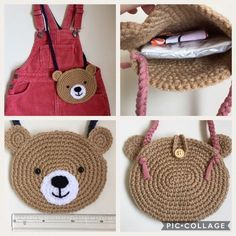 Der Neue Bear-chan Pochette of Yarn, Crochet Handbags, Crochet Purses, Crochet Girls, Crochet For Kids, Animal Bag, Crochet Pouch, Kids Bags, Crochet Accessories, Crochet Crafts