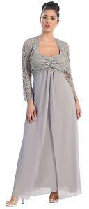 PLUS SIZE MOTHER of the BRIDE GROOM GOWN EMPIRE WAIST MODEST FORMAL CHURCH DRESS