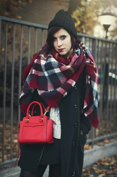 Rebecca Minkoff, tartan scarf, black red look, autumn, outfit #onceupontime http://www.onceupontimeblog.com