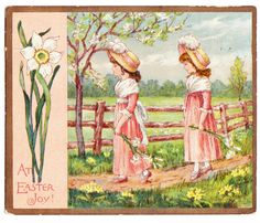 Vintage Easter Kate Greenaway Decorative Scrap / Card by thecedarchest on Etsy