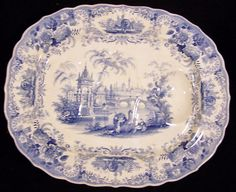 Fab FD (Francis Dillon) Staffordshire platter 1830-1850s. Small well to one end of platter for collection of the drippings. 19.75 x 16. No hairlines, cracks or stains. Loooove to use antique serving platters for buffet dinners. Dinner plates can be just plain white everyday stuff and don't have to worry about being dropped