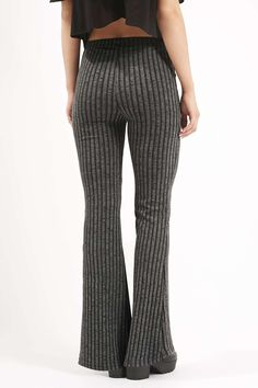 PETITE Jersey Ribbed Flare Trousers