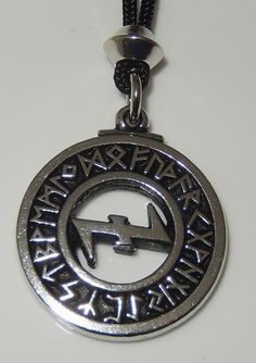 Viking Wolf ANGEL Pendant WOLF RUNES Necklace Norse VIDAR Wolf Energy Amulet