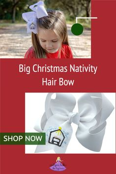 Your girl will look adorable and make a statement of her faith in this Nativity bow for Christmas. This big white bow features a charming embroidered nativity scene. Available in four sizes it is the perfect holiday accessory for her Christmas outfits and family Christmas card photos. It has been beautifully crafted out of quality ribbon that is slightly twisted for that classic boutique bow shape that won't lie too flat when worn. Shop all the sizes now. Christmas Hair Bows, Family Christmas Cards, Christmas Outfits, Christmas Nativity, Big Hair Bows, Big Bows, Christian Christmas, Christian Gifts, Stocking Stuffers For Girls