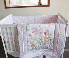 7PCS Girls Baby Bedding Set Birds Flowers Nursery Quilt Bumper Sheet Crib Skirt