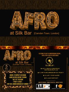 """Création by JeeOne Prod. (Flyer """"front & backside"""", AFRO at Silk Bar, London) pour Mr DJ ChEeSe (Jamal)"""
