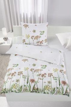 Bettwäsche aus 100% Baumwoll-Satin, multicolor, mit Blumenaufdruck. B/L: ca. 135/200cm und 80/80cm.