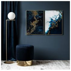 New in store! Blue golden tide 💫. . . . From left: 'Blue gold'-poster 50x70 cm. | 'Blue tide'-poster 50x70 cm.