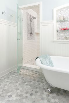Winsome Subway Tile Shower Floor Image Decor in Bathroom Traditional design ideas with Winsome beadboard Benjamin Moore blue bathroom Cape Cod bathroom carerra marble chandelier chrome