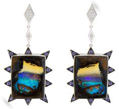 Cosmic Landscape earrings in 18k white gold with Australian boulder opals, purple sapphires, and diamonds; $5,600; M. Spalten; mspalten@gmail.com; mspalten.com