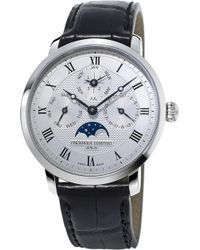 Frederique Constant - Fc775mc4s6 Stainless Steel And Alligator Leather Watch - Lyst
