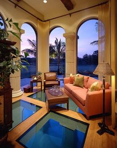 Coastal Living Room - Glass Floor Over the Pool -  Harrell & Co Architects - Naples, Florida