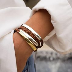 The Mini Addison Braided Wrap in 24kt gold and silverplate crescents features a braided leather strand. Designed to be worn as a bracelet only, handmade in the