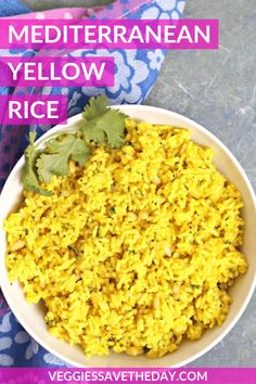 Mediterranean Yellow Rice is seasoned with garlic, cumin, and cilantro. Easy to make in 30 minutes, this turmeric rice pairs well with any entree. Substitute vegetable broth for the oil to make it oil free! Rice Side Dishes, Vegan Side Dishes, Side Dish Recipes, Dinner Recipes, Yellow Rice Recipes, Greek Yellow Rice Recipe, Dishes With Yellow Rice, Yellow Rice Recipe Middle Eastern, Jasmine Rice Recipes