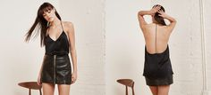 Cami inspo - This is a slip style cami with an open racerback. - Racerback- Relaxed fit- V neck- Very sexy. This is a lightweight silk from surplus fabric - content unknown.  https://assets2.thereformation.com/app/public/assets/products/31784/original/COBRA_TOP_BLACK_1.jpg?1453776913