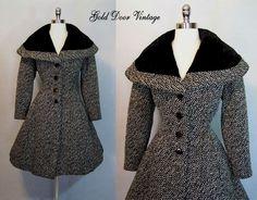 Elegant Vintage 40s 50s LILLI ANN Tweed Fit and Flare Princess Coat S  #LilliAnn