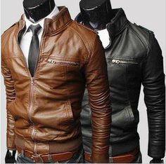 Mens Fashion transverse  slim leather jacket. ~so can all the guys I know just wear these now, or...?