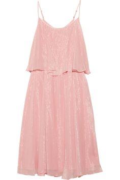 Metallic silk-chiffon tiered dress by Halston Heritage