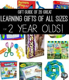 Tot school gift Guide for 2 year olds and 3 year olds. Includes 20 ideas of stocking stuffers, Small, Medium, and Large gifts for toddlers and preschoolers.