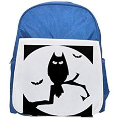 e328d2acf79b Halloween owl printed kid s blue backpack