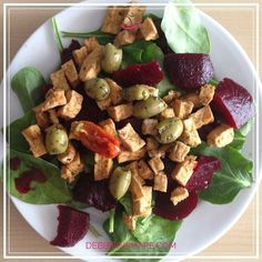 I was so hungry I forgot the nuts: spinach beets tofu olives. #foodporn #vegan #coaching  No animals were hurt in the making of this delicious meal!  #salad #tofu #veggies #veganfoodshare #nutrition #diet #weightloss #meals