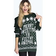 Boohoo Eva Merry Christmas Ya Filthy Animal Jumper ($26) ❤ liked on Polyvore featuring tops, sweaters, bottle, knit sweater, christmas sweater, animal print tops, black turtleneck sweater and christmas jumper
