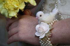 Made to order Wrist corsage with tiny dove