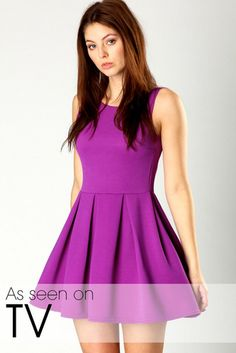 """In Puck's performance of """"School's Out"""", it looks like Rachel's wearing a grape colored fit and flare dress. Here is a rather inexpensive alternative, brought to you by Boohoo!  Boohoo Yasmin Ribbed Skater Dress - $28.00"""