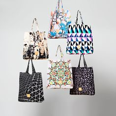 Collage of bags #danishfashion #ss16 #print #design #shopper #bag #tote
