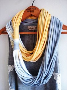 String Theory...Multi string infinity scarf in ombre of yellow and grey - LoveItSoMuch.com  --This is gorgeous, love the ombre and the two tone.