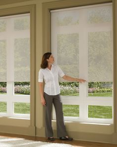 Hunter Douglas roller shades - Beautiful with big windows to filter sunlight but maintain a nice view Living Room Blinds, Living Room Redo, Living Room Windows, Living Rooms, Hunter Douglas, Door Window Treatments, Window Treatments Living Room, Window Coverings, Door Shades