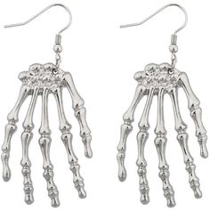 AmazonSmile: Lux Accessories Skeleton Hand Goth Halloween Drop... (£7.34) ❤ liked on Polyvore featuring jewelry, earrings, skeleton earrings, gothic earrings, gothic jewellery, gothic jewelry and goth earrings