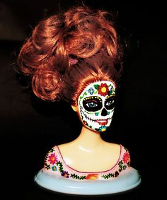 SUGAR SKULL BARBIE Doll Bust Day of the Dead - Redhead Sale. $22.00, via Etsy.